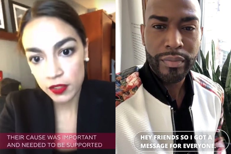 Alexandria Ocasio-Cortez and Karamo Brown in Instagram Stories with captions.