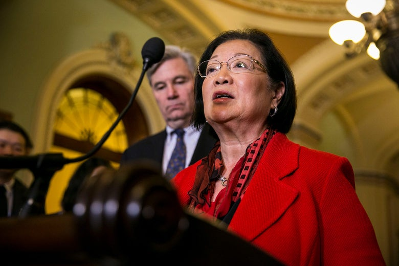 Sen. Mazie Hirono speaks to reporters about President Donald Trump's recent tweets during a news conference on Capitol Hill Friday in Washington.