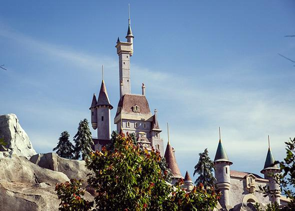 A view from Enchanted Tales With Belle of the Beast's castle above Be Our Guest in the new Fantasyland