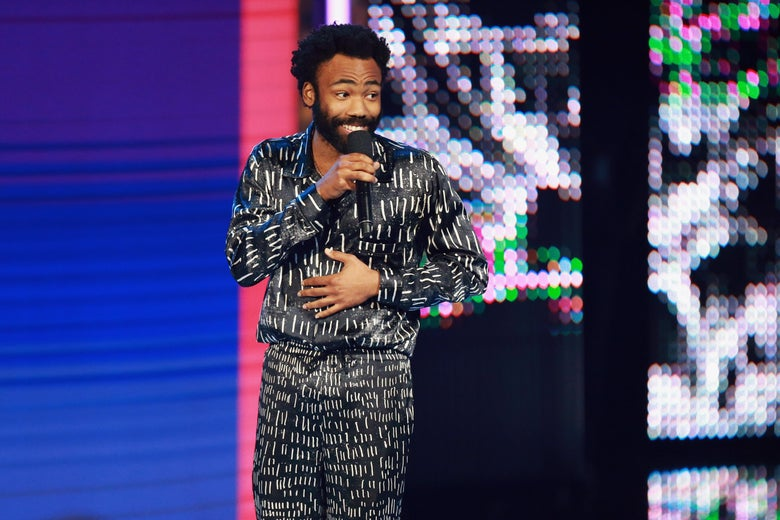 Donald Glover on stage at the 2018 BET Awards.