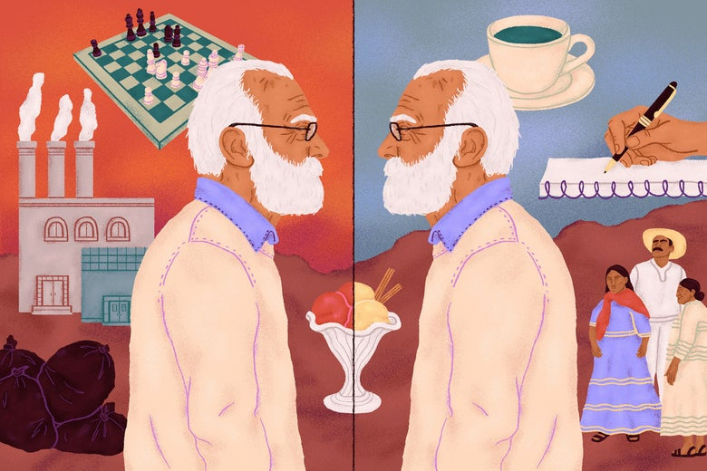 A man with white hair and eyeglasses facing his mirror image.