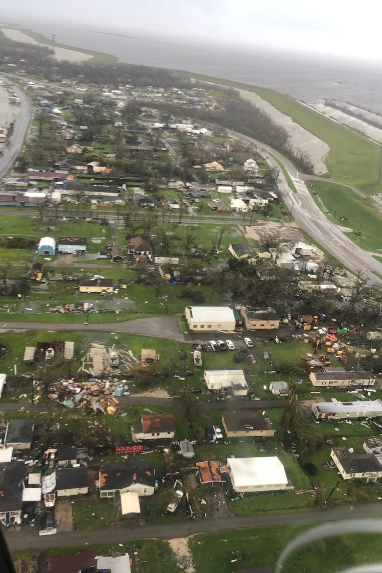 Damage to properties is seen from a U.S. Coast Guard post-storm overflight.