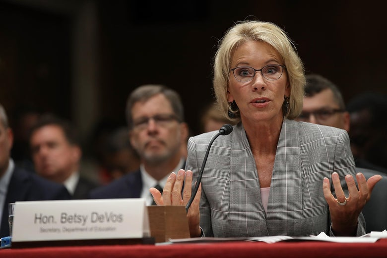 WASHINGTON, DC - JUNE 06:  Education Secretary Betsy DeVos testifies before the Senate Appropriations Committee on Capitol Hill June 6, 2017 in Washington, DC. DeVos testified on the fiscal year 2018 budget request for the Education Department.          (Photo by Win McNamee/Getty Images)