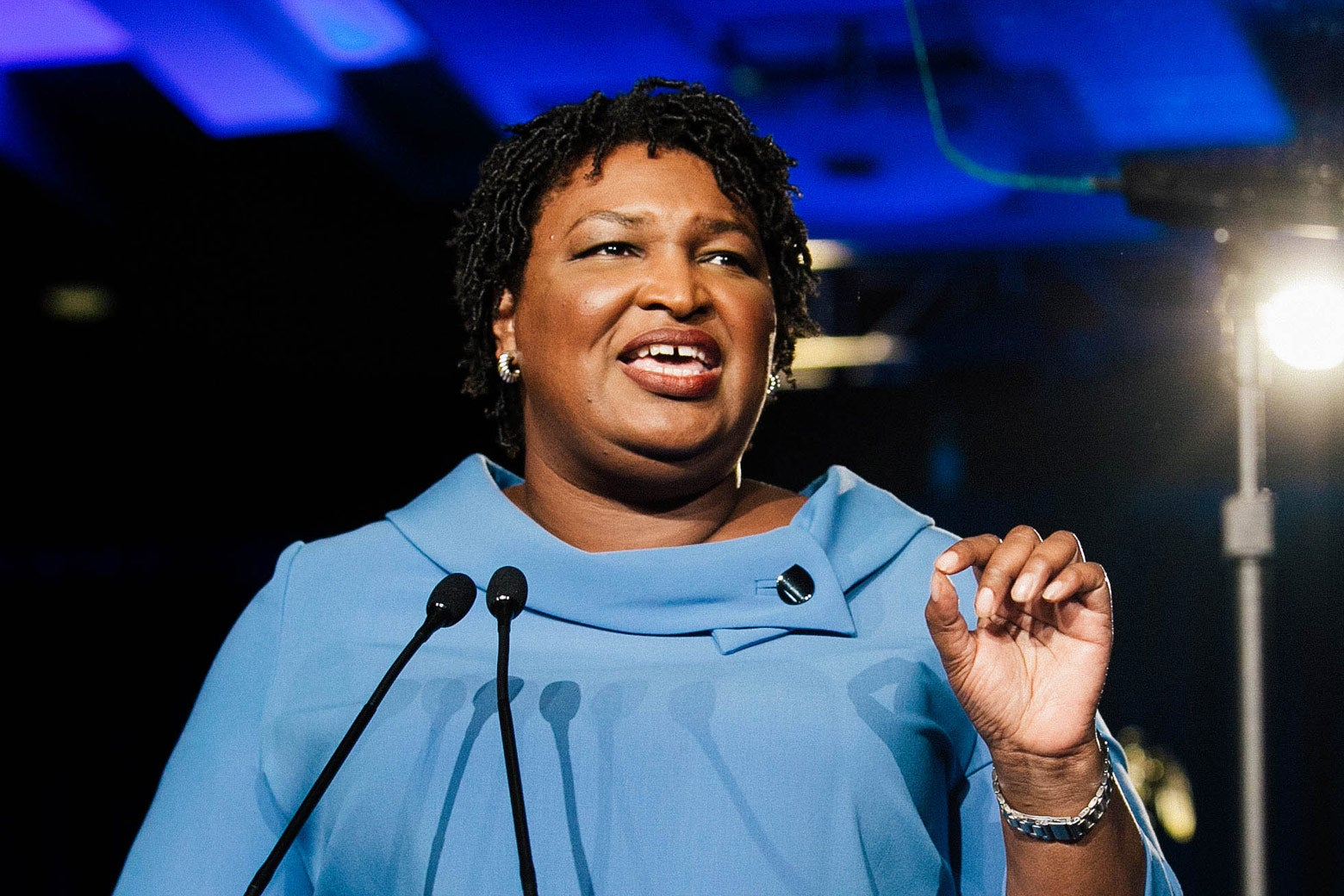 Stacey Abrams addresses supporters at an election watch party on Nov. 6 in Atlanta.
