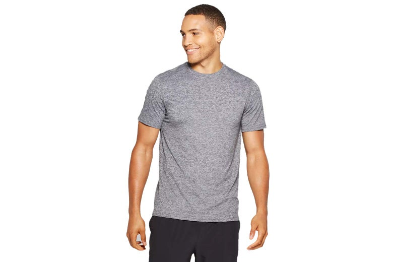 A model in a gray T-shirt.