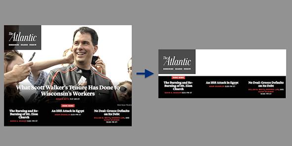 The Atlantic's homepage sans extension, left, and the Atlantic's homepage after installing the extension.