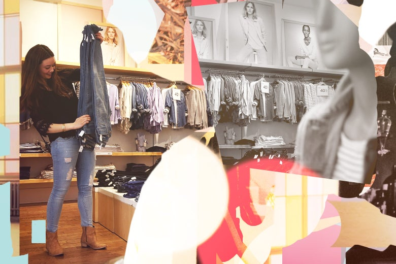Gap employee Shinju Nozawa-Auclair folds clothes at a Gap store on February 20, 2014 in San Francisco, California.
