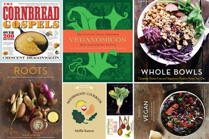 Collage of various cookbooks.