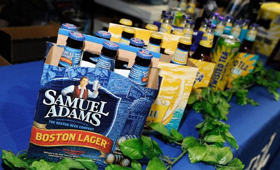 Samuel Adams beer and other drinks are displayed at the Boston Beer Co. booth at the 28th annual Nightclub & Bar Convention and Trade Show.