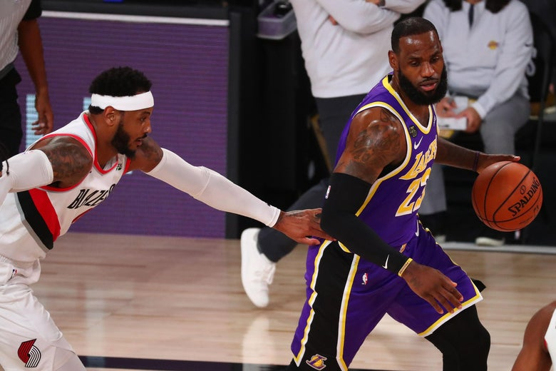 LeBron drives on Carmelo in the Lakers-Blazers series