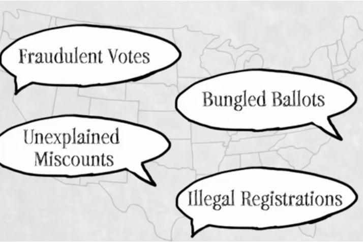 "A U.S. map is seen with speech bubbles hovering over it, each featuring text: ""Fraudulent Votes,"" ""Unexplained Miscounts,"" ""Bungled Ballots,"" ""Illegal Registrations."""