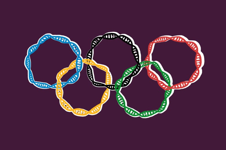 The Olympic rings made out of double helixes.