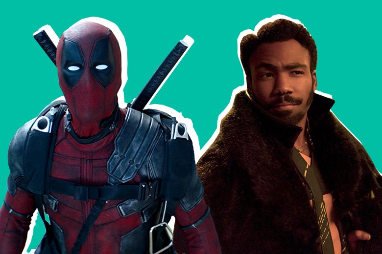 Ryan Reynolds in Deadpool 2 and Donald Glover in Solo: A Star Wars Story.