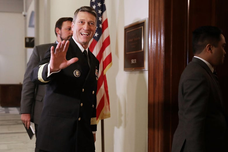 Navy Rear Admiral Ronny Jackson at the Russell Senate Office Building on Capitol Hill April 16, 2018 in Washington, DC.