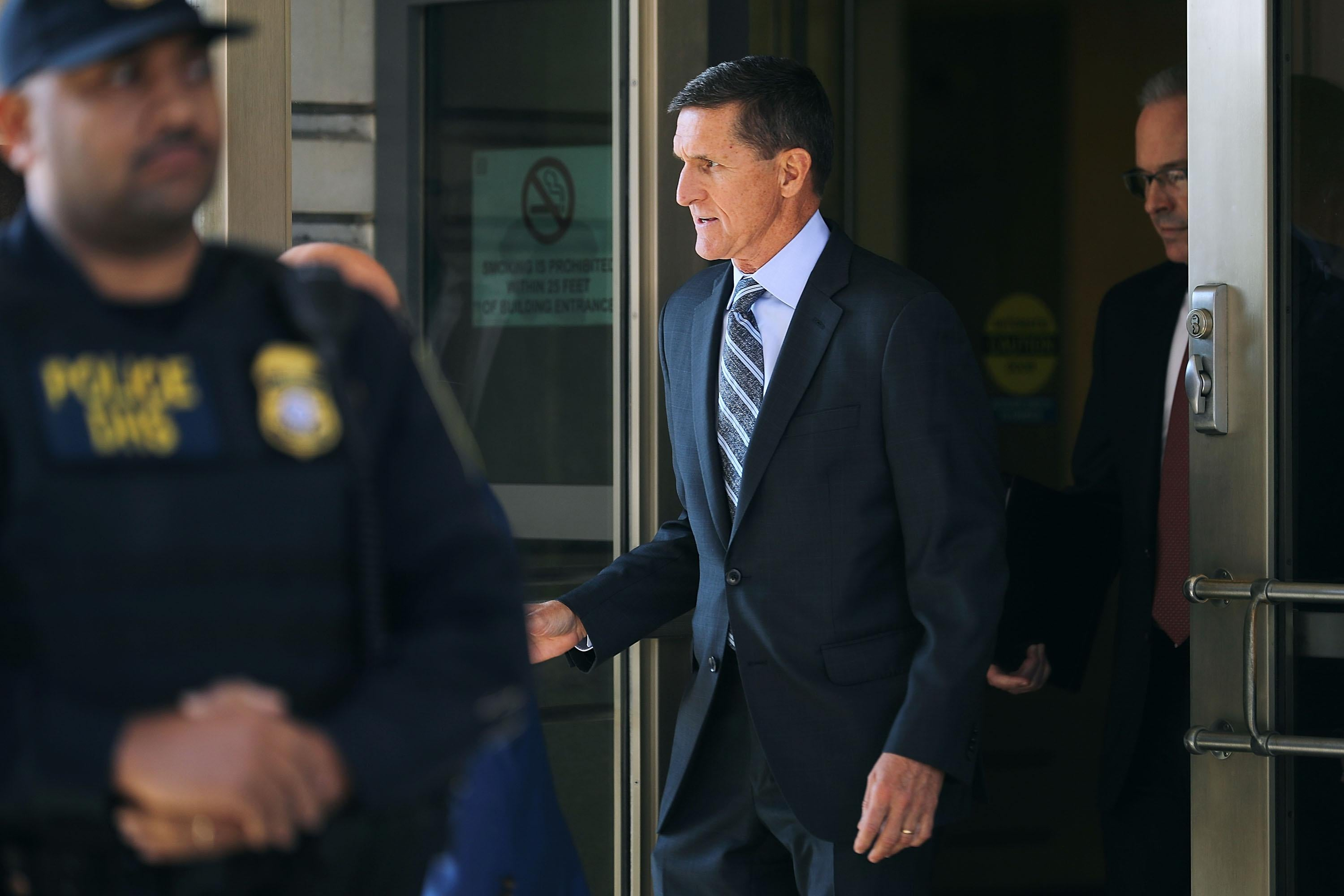 Michael Flynn following his plea hearing on Dec. 1, 2017 in Washington, DC.