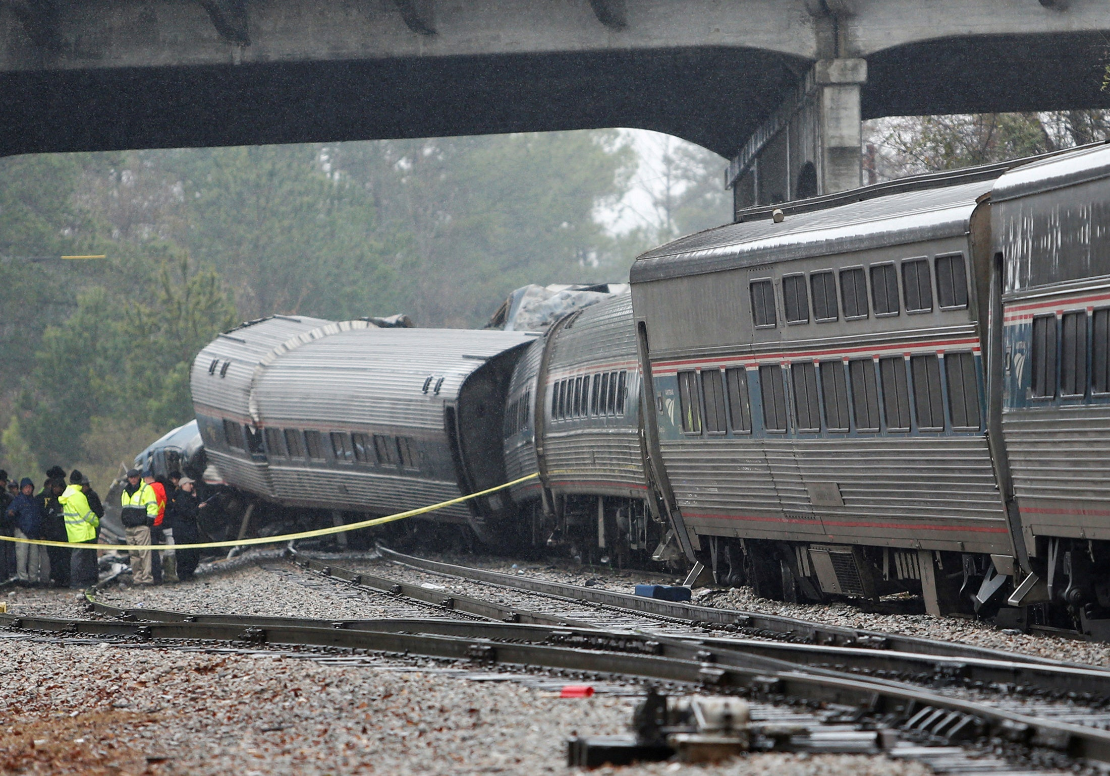 Emergency responders are at the scene after an Amtrak passenger train collided with a freight train and derailed in Cayce, South Carolina on February 4, 2018.