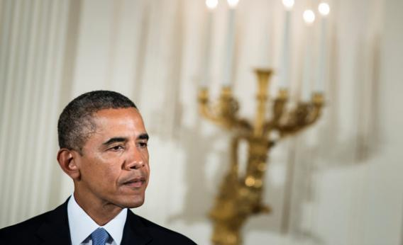 President Obama speaks during a ceremony in the East Room of the White House.