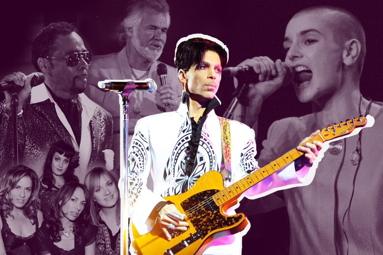 Photo illustration of Prince with various artists for whom he wrote and produced songs found on Originals.