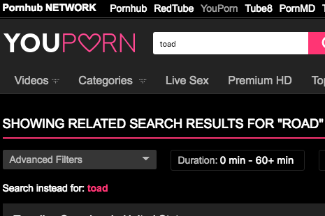 "The top of the YouPorn website with the word ""toad"" typed into the search bar."