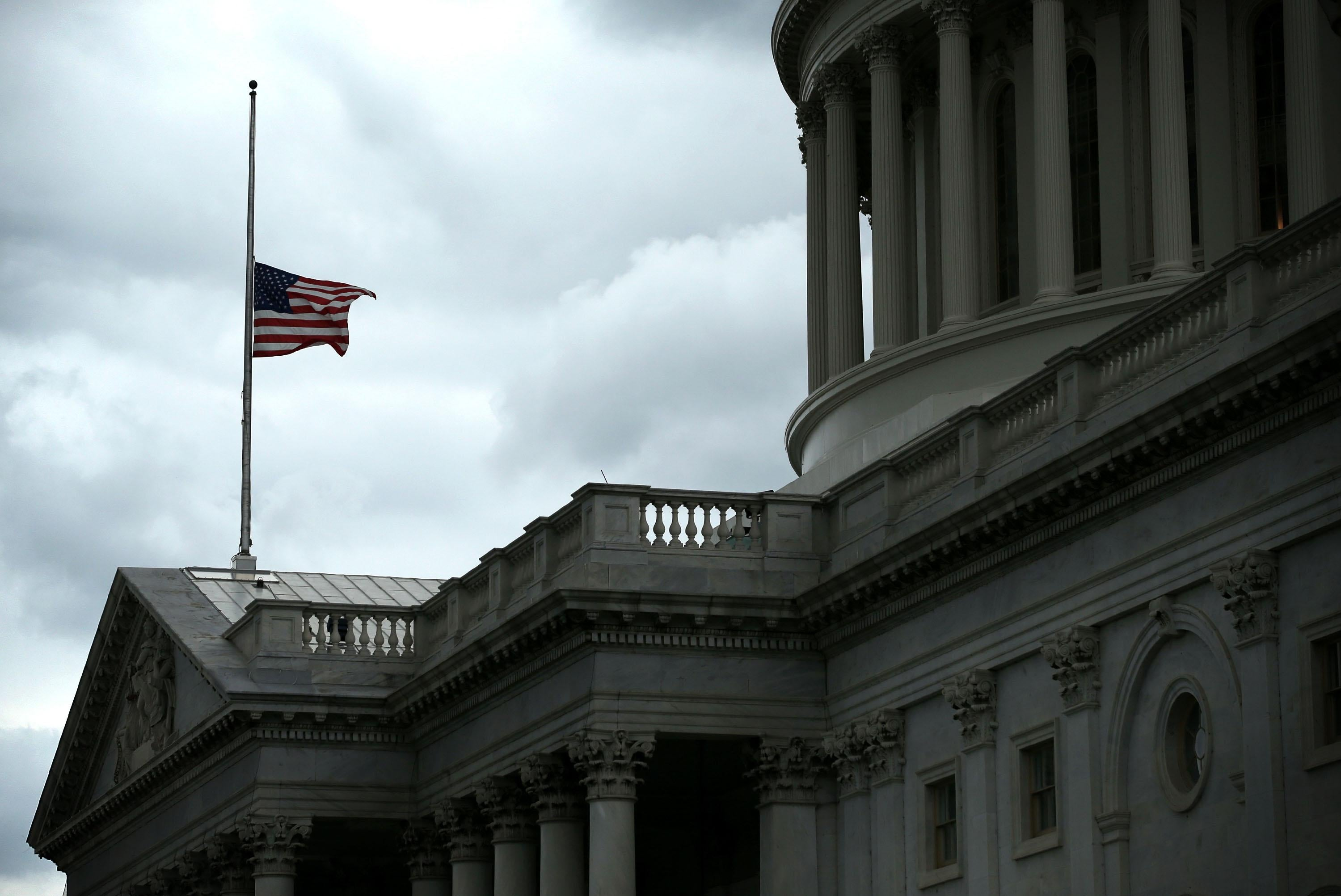 A flag at the U.S. Capitol flies at half-staff for the late Sen. Frank Lautenberg, D-N.J., June 6, 2013, in Washington, D.C.
