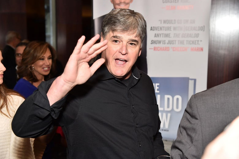Sean Hannity attends Geraldo Rivera's book launch at Del Frisco's Grille on April 2 in New York City.