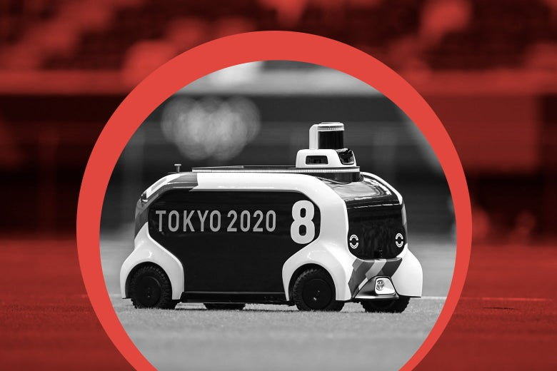 A robot shaped like a little bus with a squat cylinder on top at the front on a field, encircled by an illustration highlighting it