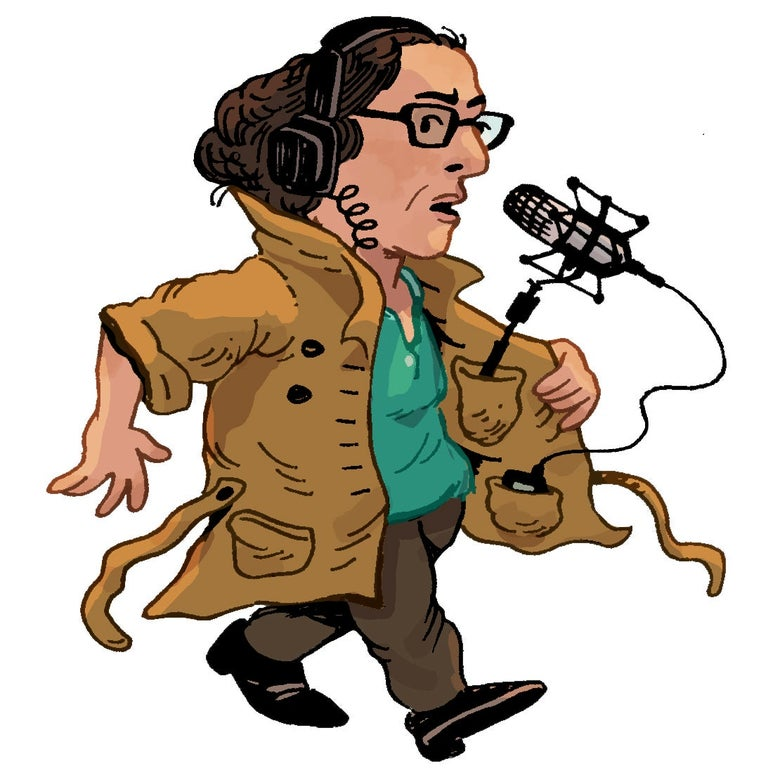 Illustration of Sarah Koenig.