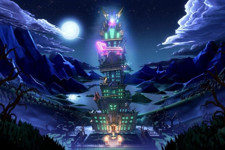 Under a full moon, a cartoonish, towering building with turrets and neon lights.