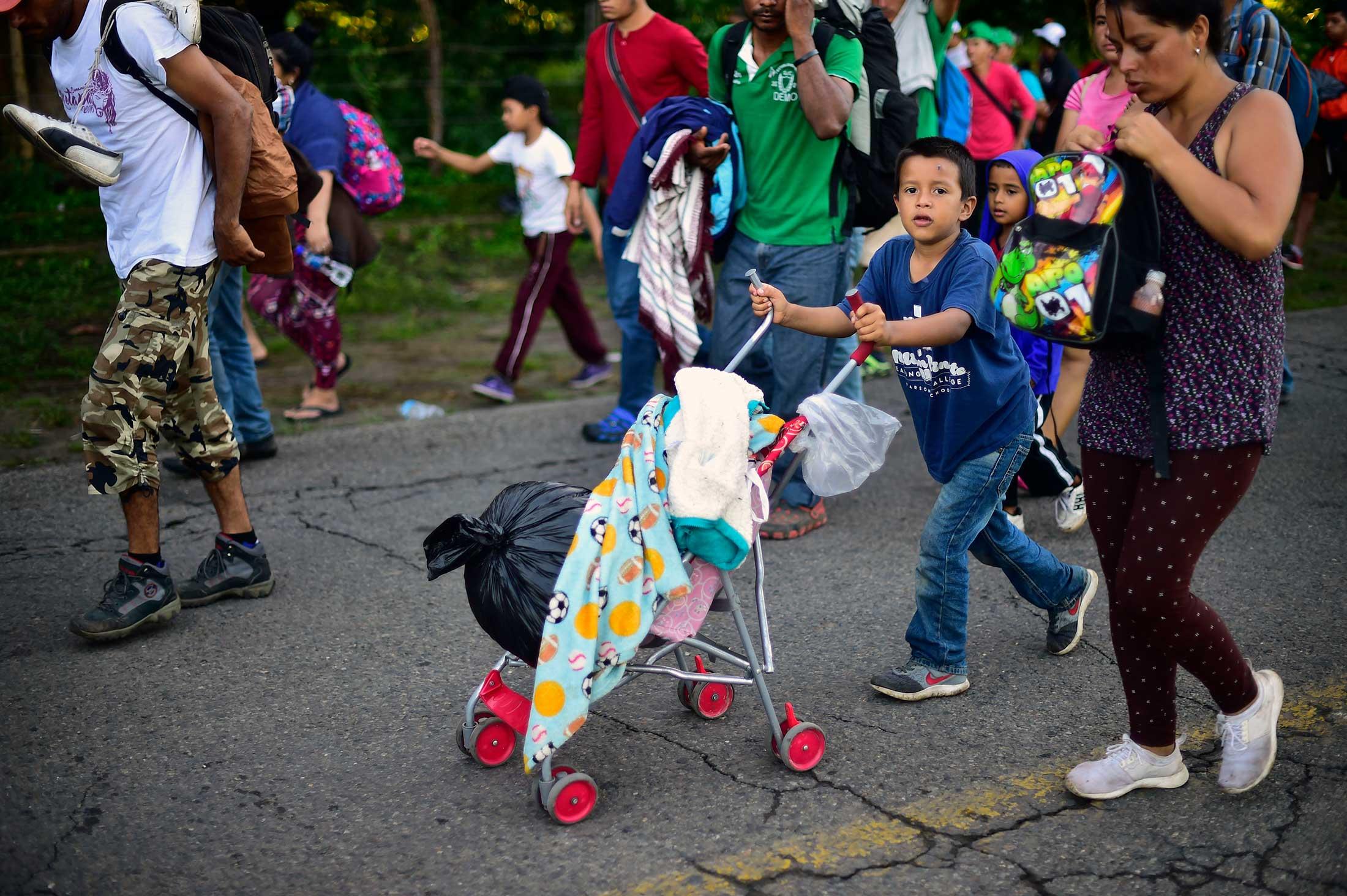 Honduran migrants heading in a caravan to the U.S.