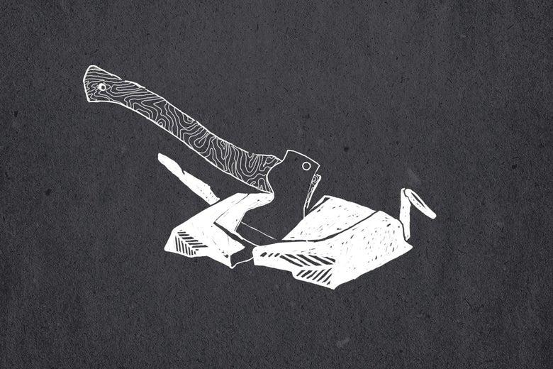 An ax splits a drone.