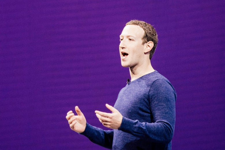 A photo illustration of Facebook CEO Mark Zuckerberg speaking during the annual F8 summit in California on May 1.