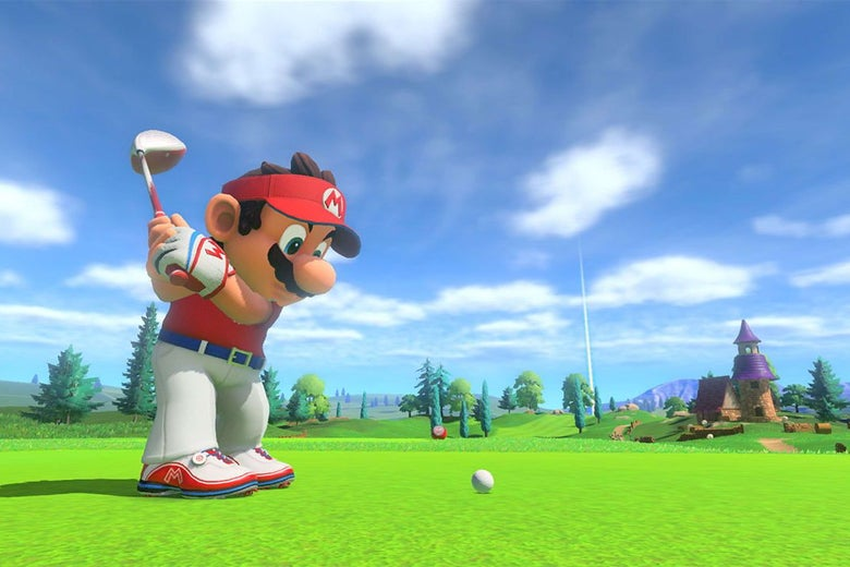 A character wearing a red polo, white pants, red-and-white cleats, and white fingerless gloves prepares to hit a golf ball on a sprawling green.