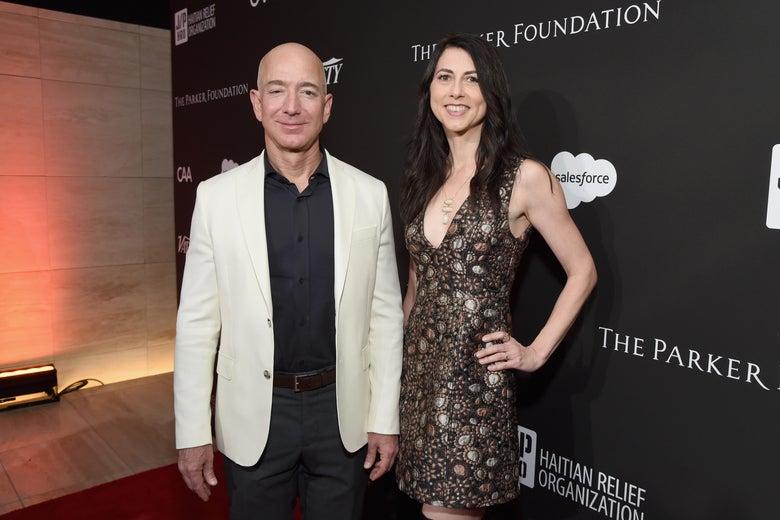 Jeff and MacKenzie Bezos on Jan. 6, 2018 in Hollywood, California.