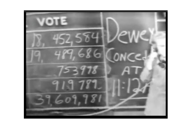 A chalkboard with vote totals.