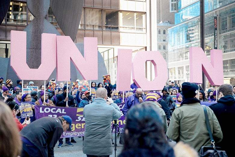 Members of the Service Employees International Union (SEIU) hold a rally in support of the American Federation of State County and Municipal Employees (AFSCME) union at the Richard J. Daley Center plaza on February 26, 2018 in Chicago, Illinois.