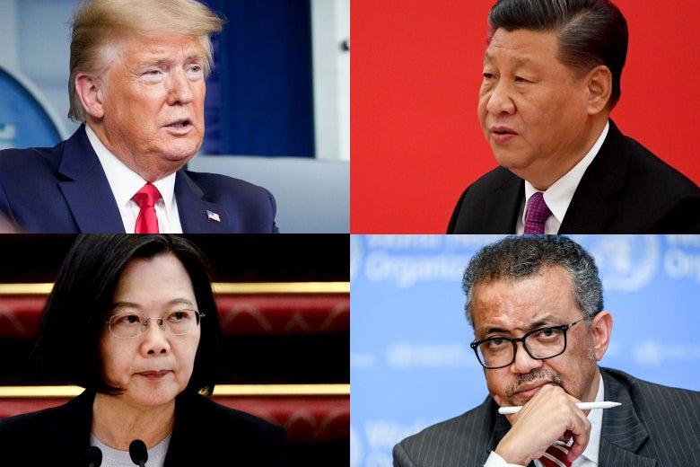 Photo collage of Trump, Xi, Tsai, and Tedros.