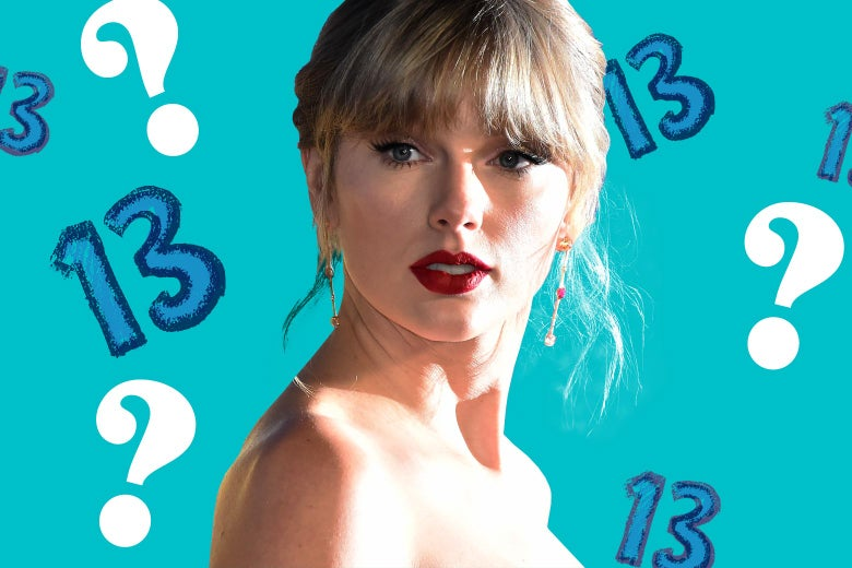 Taylor Swift against a blue background dotted with question marks and 13s.