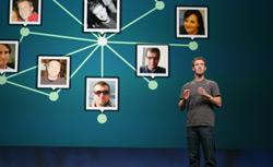Facebook CEO Mark Zuckerberg delivers a keynote during the Facebook f8 Developer Conference. Click image to expand.