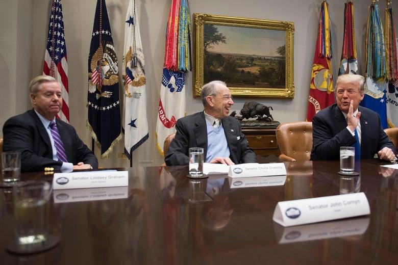 Sen. Chuck Grassley, Sen. Lindsey Graham, and Donald Trump at a meeting at the White House.