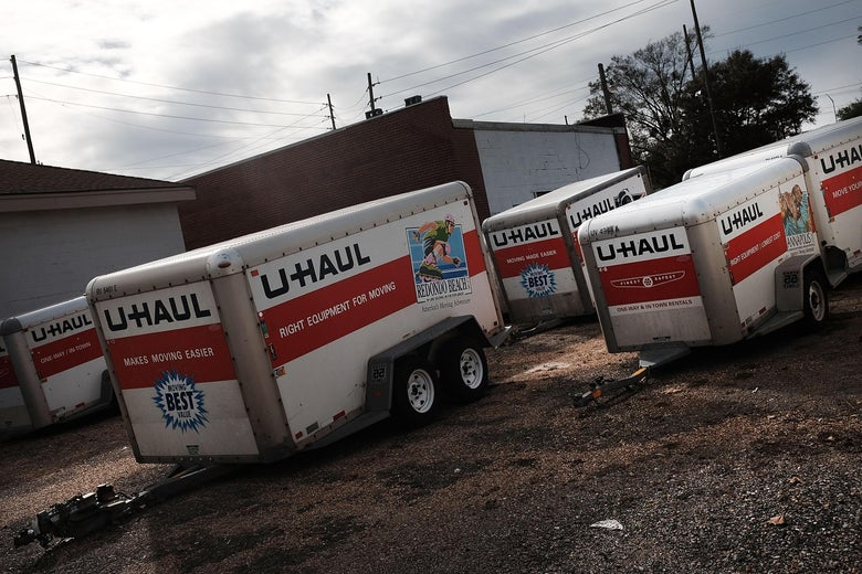 U-Haul trailers in a parking lot
