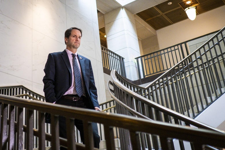 Rep. Jim Himes (D-CT) arrives for a closed door briefing with Intelligence Community Inspector General Michael Atkinson before the House Intelligence Committee on October 4, 2019 in Washington, D.C.