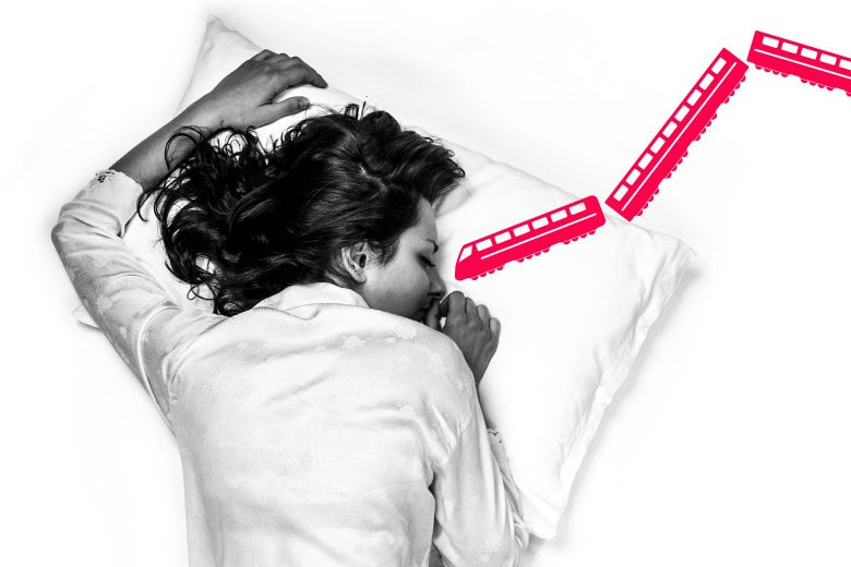 woman sleeping, with illustrated trains coming from her mouth