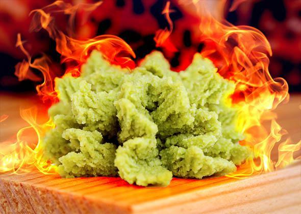 Closeup of wasabi sauce.