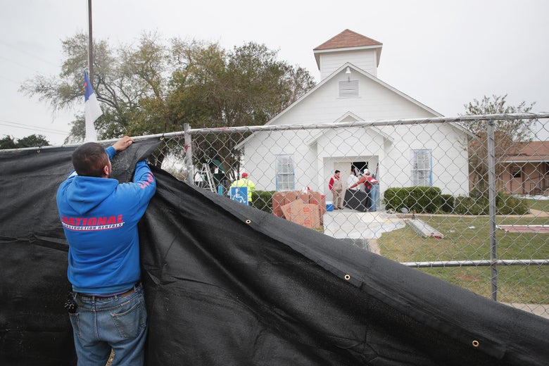 SUTHERLAND SPRINGS, TX - NOVEMBER 09:  A tarp is wrapped around the First Baptist Church of Sutherland Springs as law enforcement officials wrap up their investigation into the shooting on November 9, 2017 in Sutherland Springs, Texas. On November 5th a gunman, Devin Patrick Kelley, opened fire during the Sunday service at the church, killing the 26 people and wounded 20 others.  (Photo by Scott Olson/Getty Images)