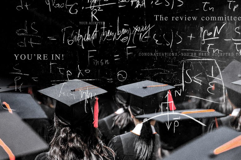 Collage of students in cap and gown below algorithms.