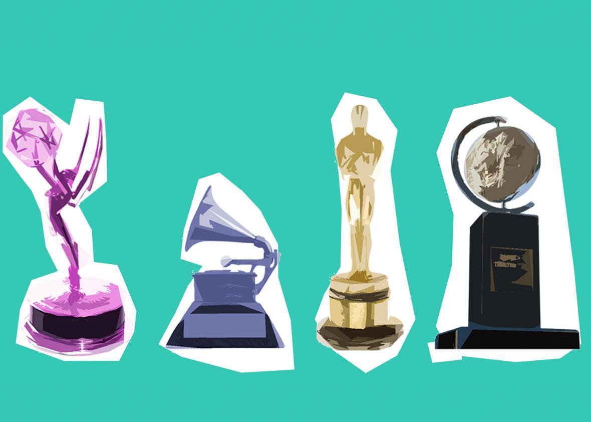 Illustrations of Emmy, Grammy, Oscar, and Pulitzer awards.
