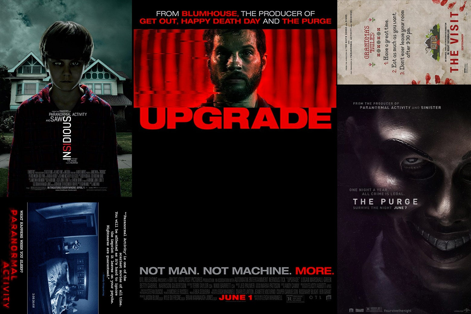 Blumhouse movie posters, including Paranormal Activity, Insidious, Upgrade, The Visit, and The Purge.