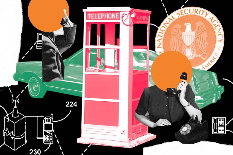 Digital collage of a phone booth, two anonymous people talking on phone, network relay diagrams, and the NSA logo.