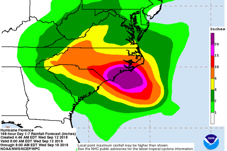 A map of rainfall bands projected from Hurricane Florence.