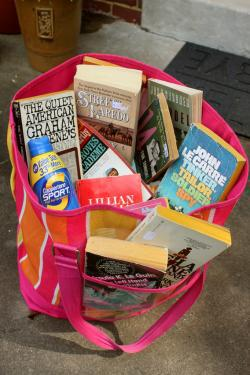 Books in bag.